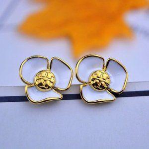 Tory Burch Enamel White Flower Logo Earrings